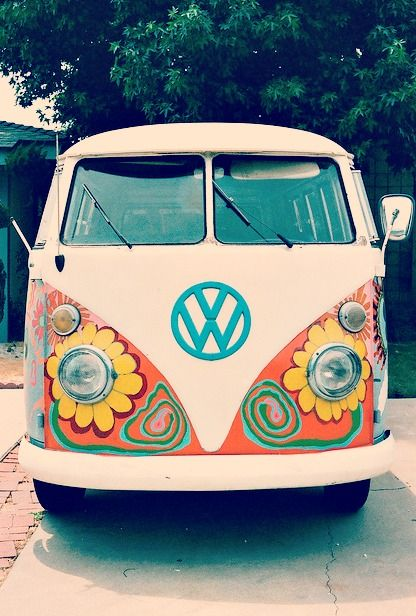 awesomely painted vw buses  hippie chic