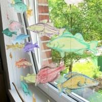 DIY, Fisch. FEnsterdeko, Kinderzimmer, Selbermachen, Mobile, Gardine, Basteln, Ideen, Crafting, Transparentpapier, Bunt