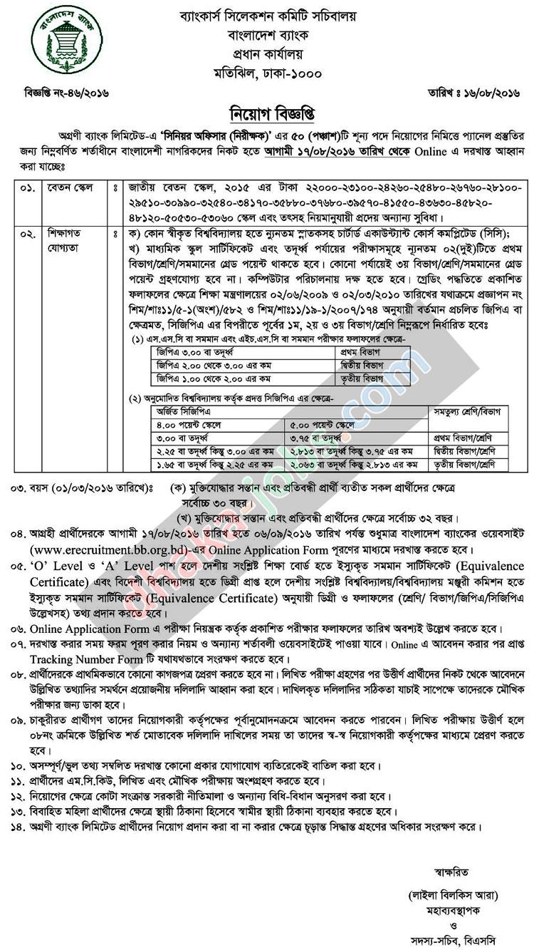 Agrani Bank Limited Job Circular 2016