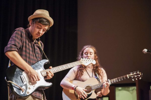 Fin May (left) and Rowie Walsh, members of Palladino, perform for the Student Talent Showcase in Jack Adams Hall Thursday Oct. 29, 2014. Martin Bustamante/Xpress.