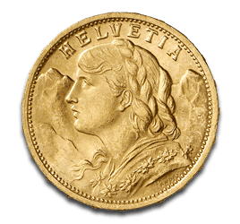 Swiss vreneli coin