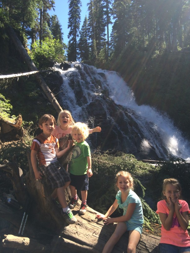 Grandchildren at waterfall where we searched for Gambusia montanaensis.