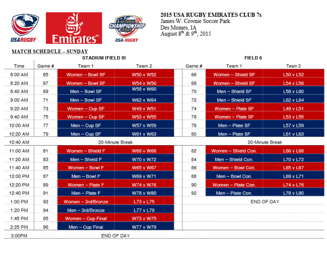 Live webcast 2015 USA Rugby Emirates Airline Men's & Women's Club 7s National Championships Aug. 8-9, 2015
