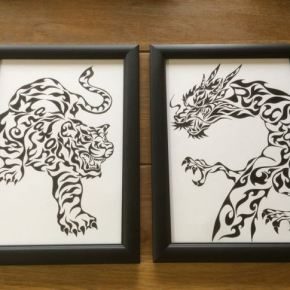 虎と龍!お正月に縁起も良い子供の名前が入った模様で書く絵のオーダーメイド