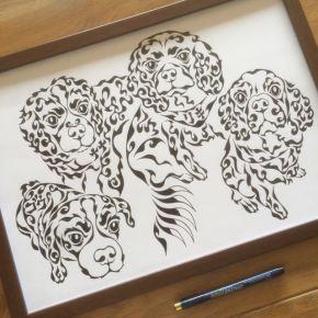 愛犬家族をモチーフに!新築のお家に飾る「ペットの似顔絵風アート」のオーダーメイド