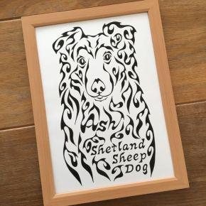 車に貼るステッカーのデザインに!愛犬のシェットランドシープドッグ(shetland sheepdog)をモチーフにした似顔絵風アートのオーダーメイド(A4)