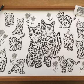 猫を保護する活動をされている猫好きの方の新居祝いに贈る、たくさんの猫の絵のプレゼント(A2)
