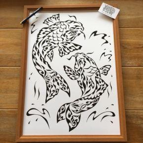 ご自宅に飾るアートな開運インテリアに!大きなサイズで勢いのある夫婦の登り鯉の絵(A2)