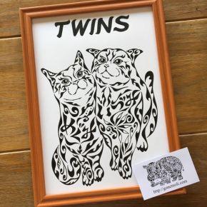 寄り添う2匹の猫がモチーフの「姉妹の絆」をイメージした絵のオーダーメイド
