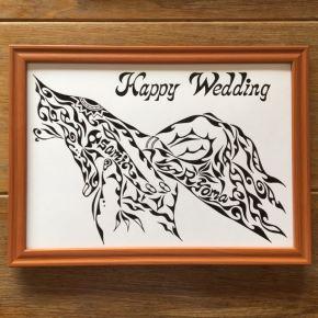 ご結婚のお祝いやウェルカムボードに人気の【指輪をはめる手】定番デザインとしてゴネモリショップに追加しました。