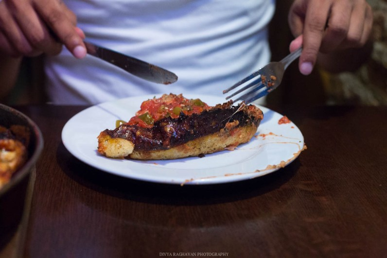 Deep dish pizza at Pequod's pizza, Chicago, USA-8