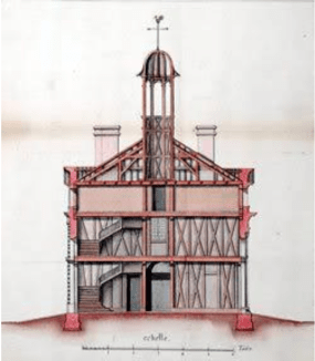 Architectural drawing of the second Ursuline Convent in New Orleans, 1745.