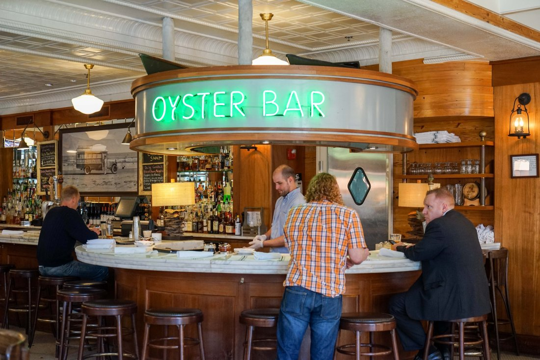 At the corner of Lafayette Street and Fulton is Grand Isle, a mostly seafood restaurant specializing in raw bar oysters and boiled shrimp, fried seafood po-boys, and other classic New Orleans dishes, all in an elegant dining room with that great outdoor seating along Fulton.