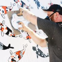 Artist Jeremy Novy at work. Photo courtesy of Ryan Laessig.