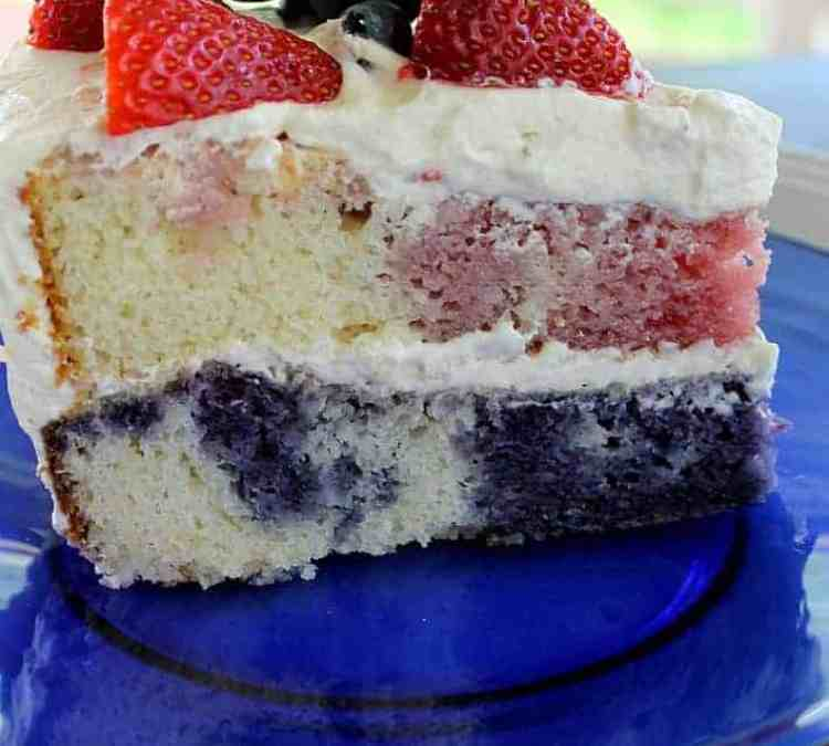 Poke Cake with Whipped Cream Frosting – and no artificial colors