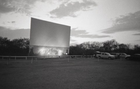 Galaxy Drive In Theatre - Olympus XA - Ilford HP5 Plus @ 800