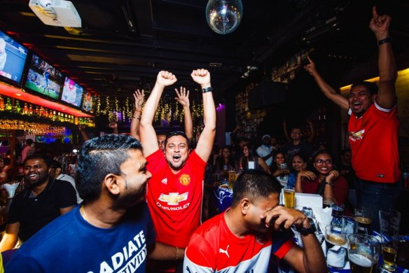 Crowd cheering as their favourite team scored a goal during Tiger FC viewing party at Gridiron, Bangsar(2)