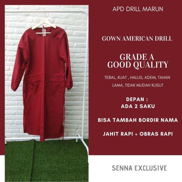 APD Gown Drill Merah Marun