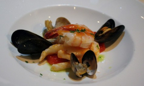 Chilled Seafood - mussels, clams, squid, prawn, cured salmon, tomato vinaigrette, basil oil, gremolata
