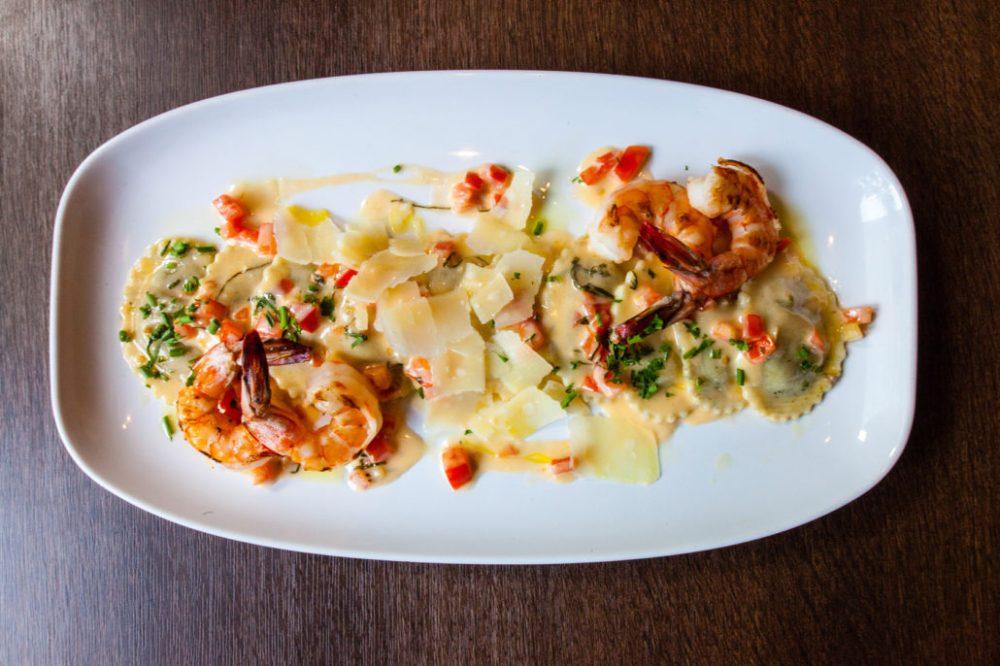 provence wild mushroom ravioli with prawns
