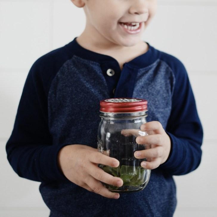 catching bugs toddler jar