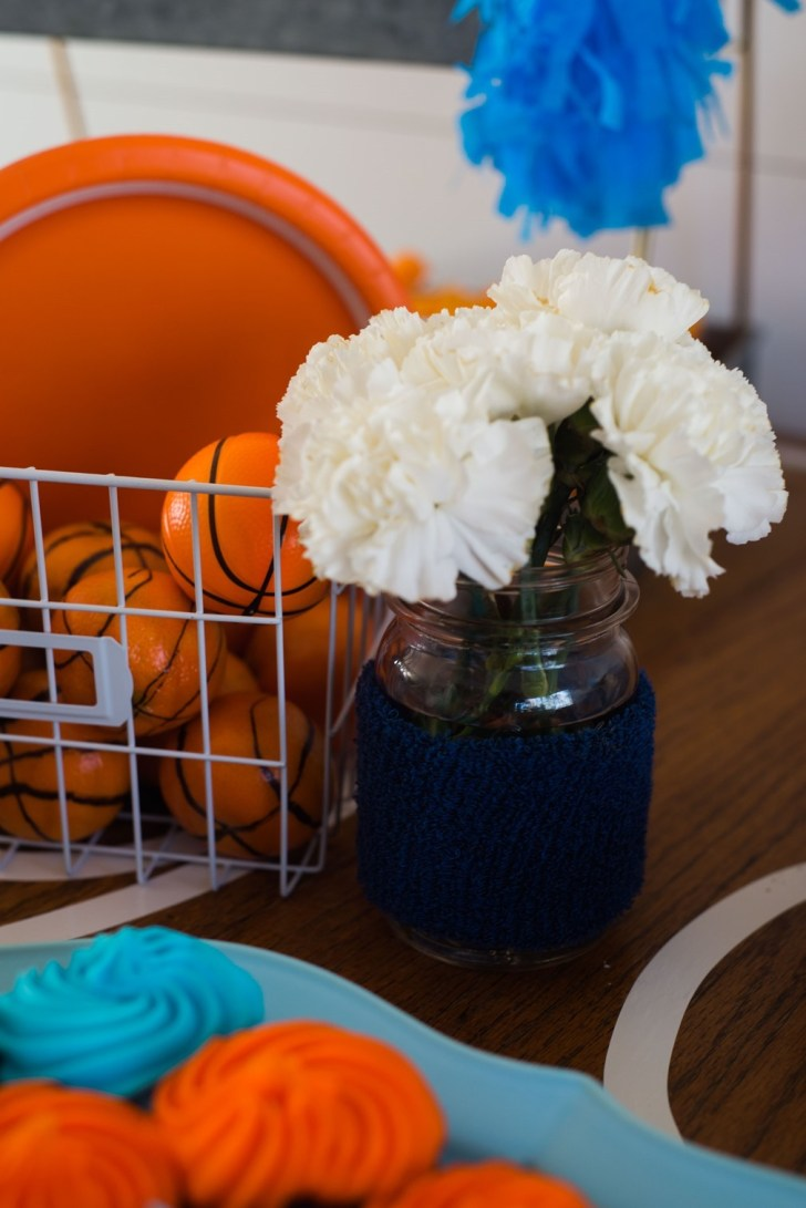 basketball party decor flowers mason jar
