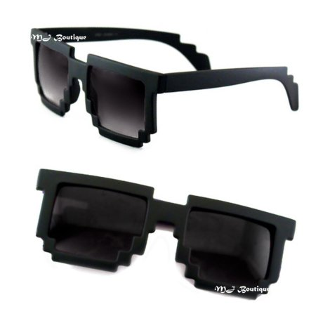 8 Bit Pixel Matte Black Sunglasses