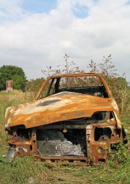 old burnt car