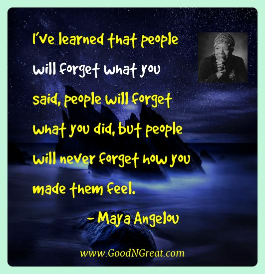 Maya Angelou Best Quotes  - I've learned that people will forget what you said, people