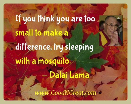 Dalai Lama Inspirational Quotes  - If you think you are too small to make a difference, try