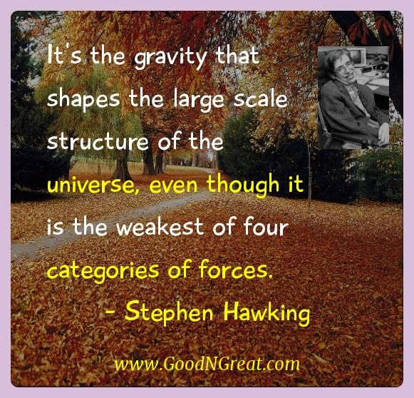 Stephen Hawking Inspirational Quotes  - It's the gravity that shapes the large scale structure of