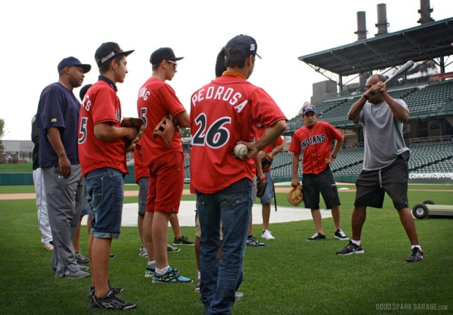 Baseball Clinic for MotoGP Riders in Indianapolis