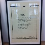 Framed Lindemann poetry broadside