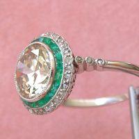 Gorgeous Art Deco 2.59 Ct European Cut Yellow Diamond Emerald Halo Ring