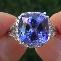 A Gorgeous GIA Certified 6.43 Ct VVS1 Natural Tanzanite Diamond 14k White Gold Estate Ring