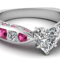 A Gorgeous Pink Sapphire Channel Set Engagement Ring 1.65 Ct Heart Shaped SI1 Diamond GIA