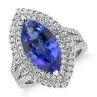 A Gorgeous Tanzanite and Diamond Marquise Halo Cocktail Ring in 18k White Gold