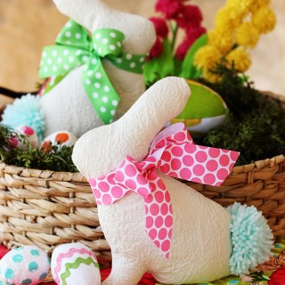 Add a little hippity hoppity spirit to your Easter decor with this cute bunny softie by Positively Splendid.