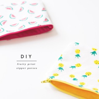 DIY Fruity Print Zipper Purses