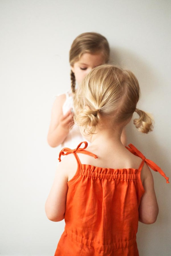 The Summer Romper oatterb for Kids by Purl Bee features elastic at the waist for comfort and shoulder ties to make getting dressed a breeze. -Sewtorial