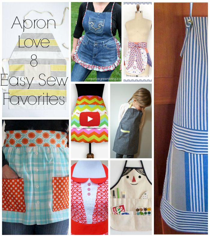 """From modern to farmhouse chic, here are 8 of our favorite """"Apron Love"""" FREE patterns here on Sewtorial."""