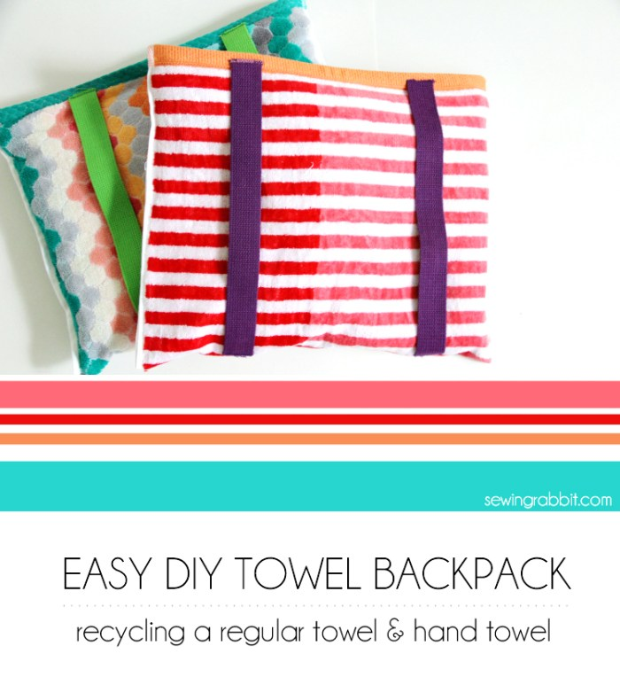 The DIY Beach Towel Backpack by The Sewing Rabbit is such a smart idea! Perfect for throwing in the wash after a fun day in the sun. -SewtorialBeach-Towel-Backpack-Title-Image