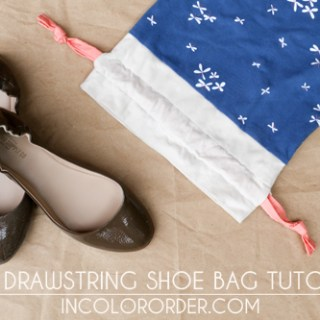 Here's a cute and simple project by In Color Order. The knit drawstring shoe bag is perfect for shoes or your other storage needs. -Sewtorial