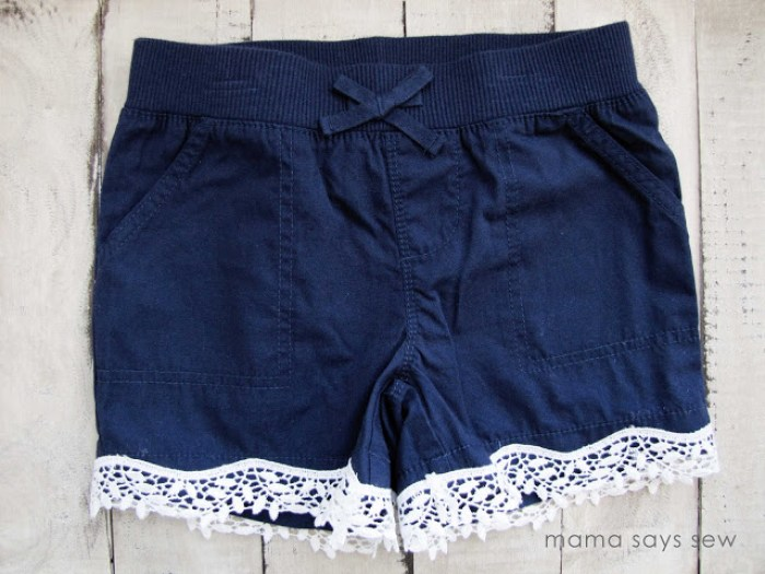 "Adding trim to a ""plain"" garment takes the style level up a few notches. Mama Says Sew shows how to add lace to shorts in this simple tutorial. -Sewtorial"