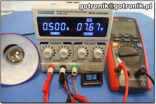 Pomiar prądu przy 0,500 A