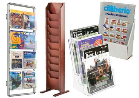 Brochure Holders   Literature Racks   Flyer Stands Literature display racks for magazines
