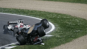 Ide's (L) infamous collision with Albers' Midland (R). The Super Aguri driver was replaced, before having his FIA superlicense revoked.