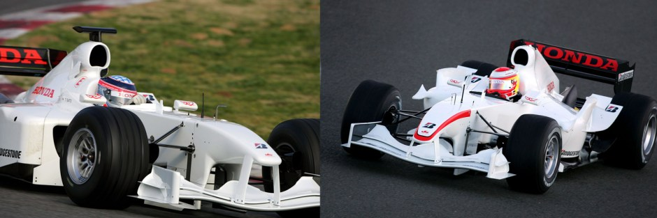 Both iterations of the Super Aguri SA05 in testing. Note the sculpted sidepods and engine cover, the extra winglets and the drooping nose in the image on the right.