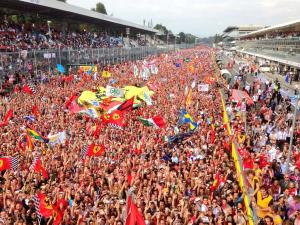 "The world-famous ""tifosi"" at Monza. Imagine the fuss if they had a home driver in a Ferrari to celebrate!"