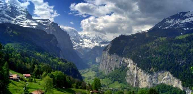 View of Lauterbrunnen from Wengen, Switzerland